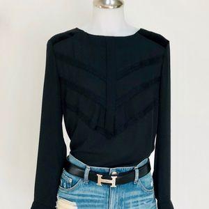 ANN TAYLOR  Womens Blouse Top Black Size 4
